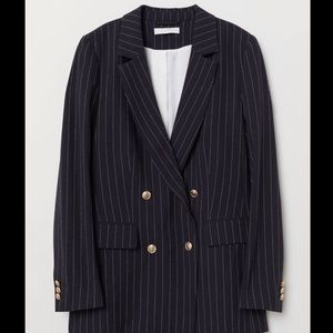 H&M Navy Pinstripe Blazer with Gold Buttons